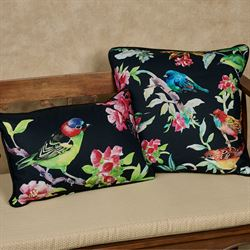 Bird Song Rectangle Pillow Black 18 x 12