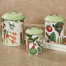 Vegetable Kingdom Kitchen Canisters Multi Warm Set of Three