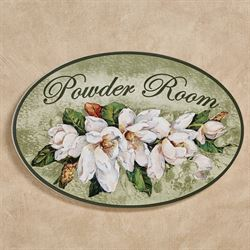 Magnolia Floral Powder Room Wall Plaque Green