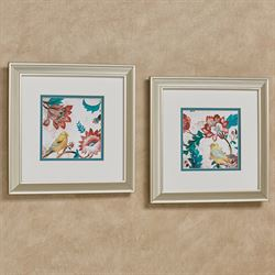 Bird of Capri Framed Wall Art Multi Jewel Set of Two