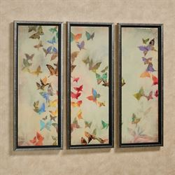All Aflutter Butterfly Framed Wall Art Multi Pastel Set of Three