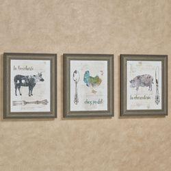 Golden Cuisine French Farm Animal Framed Kitchen Wall Art Set