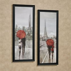 New York Paris Framed Wall Art Multi Cool Set of Two
