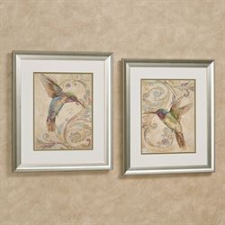 Hummingbird Framed Wall Art Multi Warm Set of Two