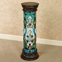Royal Fleur Stained Glass Pedestal Floor Lamp Blue/Green