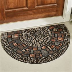 Exploded Medallion Slice Doormat Multi Earth 35 x 23