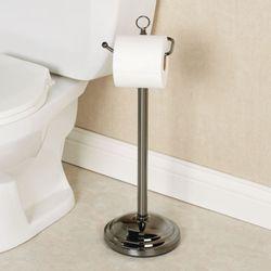 Euro Toilet Paper Holder Stand Black Chrome