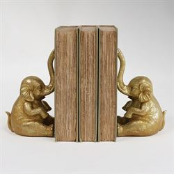 Trumpeting Elephant Bookend Pair Gold