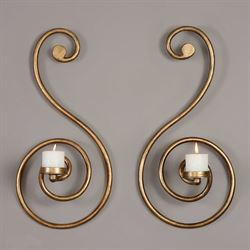 Lucetta Wall Sconces Antique Gold Set of Two