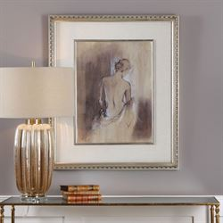 Contemporary Draped Figure Framed Wall Art Ivory