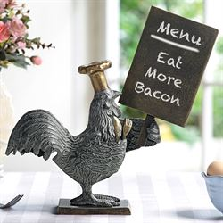 Rooster Chef Menu Board Tabletop Accent Antique Bronze