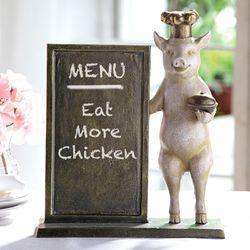 Pig Chef Menu Board Tabletop Accent Antique Bronze