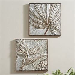 Tropical Wall Art Whitewash Set of Two