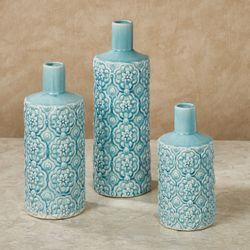 Delicate Florals Decorative Vases Blue Set of Three