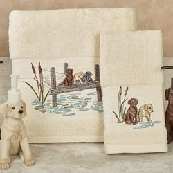 Woodland Dogs Bath Towel Set Light Cream Set of Two