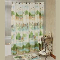 Woodland Dogs Shower Curtain Light Cream 70 x 72