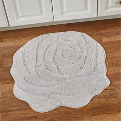 Naomi Flower Shaped Bath Rug Silver 27 x 27