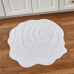 Naomi Flower Shaped Bath Rug White 27 x 27