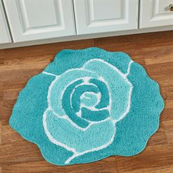 Bloom Flower Shaped Bath Rug Aqua 26 x 28