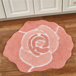 Bloom Flower Shaped Bath Rug Coral 26 x 28