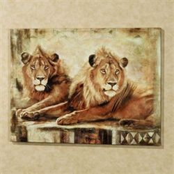 Watchful Life Lions Canvas Brown