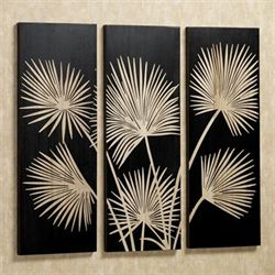 Graceful Palms Black Wooden Triptych Art