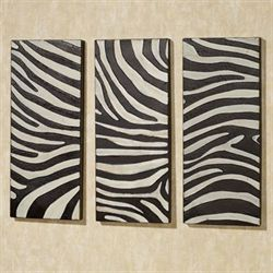 Zebra Wall Panel Set Black Set of Three