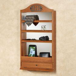 Quinn Mirrored Wall Shelf Windsor Oak
