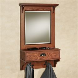 Karter Mirrored Wall Shelf Mission Red Oak