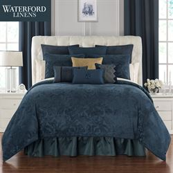 Leighton Scroll Comforter Set Midnight Blue