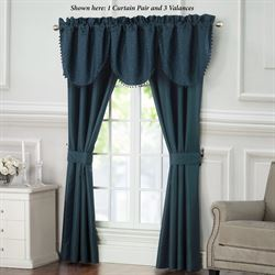Leighton Scroll Wide Curtain Pair Midnight Blue 100 x 84