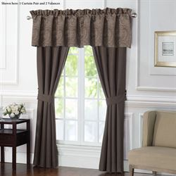 Glenmore Wide Tailored Curtain Pair Dark Taupe 100 x 84