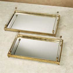 Abra Mirrored Decorative Trays Gold Set of Two