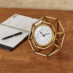 Diamond Accent Table Clock Burnished Gold