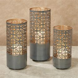 Calinesse Pierced Candleholder Lanterns Gray Set of Three