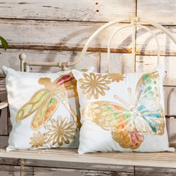 Gold Winged Dragonfly Pillow Multi Pastel 18 Square