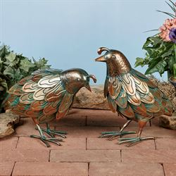 Quail with Head Down Sculpture Copper