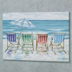 Day at the Beach Canvas Wall Art Blue