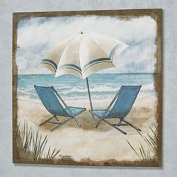 Summer Vacation Burlap Canvas Wall Art Multi Earth
