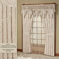 Renaissance Scroll Wide Tailored Curtain Pair Sand 100 x 84
