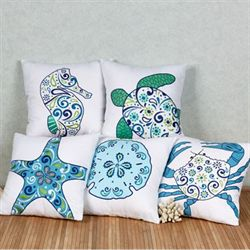 Imperial Coast Seahorse Pillow White 18 Square