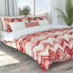 Germain Chevron Duvet Cover Set Coral