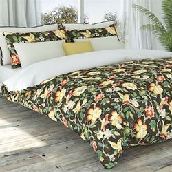Tess Tropical Floral Duvet Cover Set Coffee