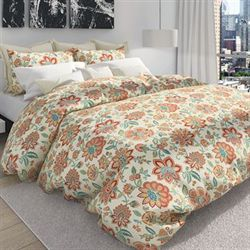 Bella Jacobean Floral Duvet Cover Set Melon