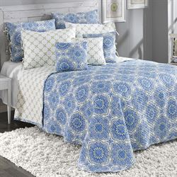 Trina Reversible Quilted Bedspread Blue