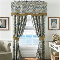 Captains Quarters Tailored Curtain Pair Federal Blue 82 x 84