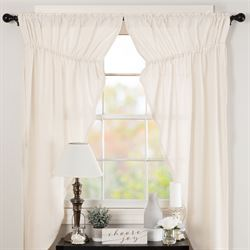 Burlap Prairie Curtain Pair Antique White 72 x 63