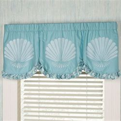 Tides Scalloped Valance Cerulean Blue 60 x 20
