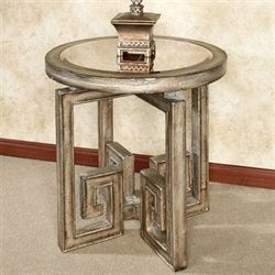 Mystras Round Side Table Silver Gray
