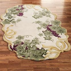 Ribbon Grapes Oval Rug